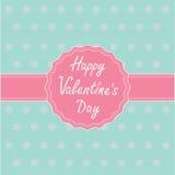 Etichetta e nastro rosa. Carta felice di giorno di biglietti di S. Valentino. Fotografie Stock