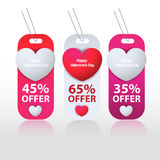 Etichetta felice di giorno di biglietti di S. Valentino Fotografia Stock
