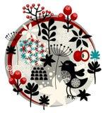 Etichetta floreale con gli uccelli svegli ed i fiori graziosi. Fotografia Stock Libera da Diritti