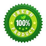 Etichetta fresca del distintivo del prodotto di 100% isolata Fotografie Stock