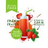 Etichetta fresca di Juice Logo Natural Food Farm Products della fragola sopra il fondo della spruzzata della pittura illustrazione di stock