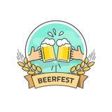 Etichetta isolata, logo più beerfest di vettore di festival della birra con il nastro Immagine Stock