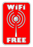 Etichetta libera di WiFi sui precedenti rossi illustrazione di stock