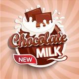 Etichetta, logo del latte al cioccolato fresco illustrazione di stock