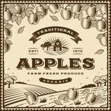 Etichetta marrone d'annata delle mele Immagine Stock