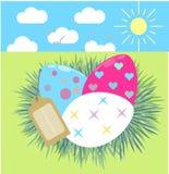 Etichetta neonata Pasqua Fotografie Stock Libere da Diritti