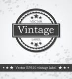 Etichetta nera con progettazione disegnata retro annata Fotografia Stock Libera da Diritti