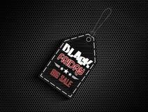 Etichetta nera dell'autoadesivo di vendita di venerdì Immagini Stock