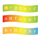 Etichetta o insegna organica sana naturale Fotografia Stock Libera da Diritti