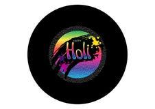 Etichetta olografica felice di Holi su fondo nero Il DJ party Annotazioni di vinile di progettazione per il festival di colore Et royalty illustrazione gratis