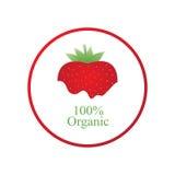 Etichetta organica della fragola rossa Fotografia Stock