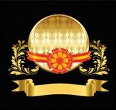 Etichetta in oro con il nastro rosso e l'ornamento floreale Fotografia Stock Libera da Diritti