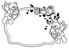 Etichetta ovale con le rose e l'orsacchiotto del profilo Clipart del quadro televisivo Fotografie Stock