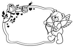 Etichetta ovale con le rose e l'orsacchiotto del profilo Clipart del quadro televisivo Fotografia Stock Libera da Diritti