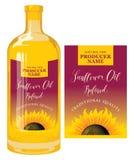Etichetta per l'olio di girasole sulla bottiglia di vetro Illustrazione di Stock
