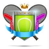 Etichetta per la competizione sportiva di tennis Premio luminoso Immagini Stock