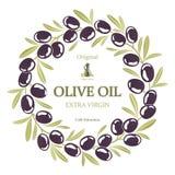 Etichetta per la corona dell'olio d'oliva delle olive nere Fotografia Stock