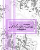 Etichetta per olio essenziale del pelargonium Fotografie Stock