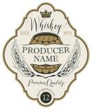 Etichetta per whiskey con le orecchie di orzo e del barilotto royalty illustrazione gratis