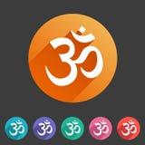 Etichetta piana di logo di simbolo del segno di web dell'icona del puntatore di posizione della mappa di hinduism di aum del OM royalty illustrazione gratis