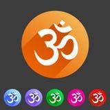 Etichetta piana di logo di simbolo del segno di web dell'icona del puntatore di posizione della mappa di hinduism di aum del OM illustrazione vettoriale