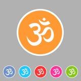 Etichetta piana di logo di simbolo del segno di web dell'icona del puntatore di posizione della mappa di hinduism di aum del OM illustrazione di stock