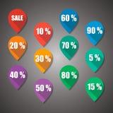 Etichetta piana di progettazione di numeri e di vendita fotografia stock