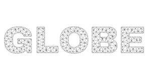 Etichetta poligonale del testo del GLOBO della maglia illustrazione di stock