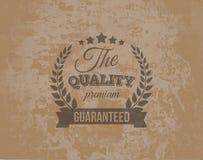 Etichetta premio di garanzia di qualità sul lerciume Backgrou Fotografia Stock Libera da Diritti