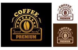 Etichetta premio o distintivo del caffè Fotografia Stock Libera da Diritti