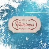 Etichetta realistica del cartone di saluto di Natale Fotografie Stock Libere da Diritti