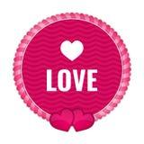 Etichetta rosa del cerchio con gli ornamenti ed i cuori illustrazione di stock