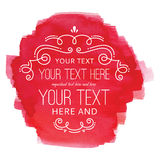 Etichetta rossa di Flourish dell'acquerello Fotografie Stock
