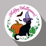 Etichetta rotonda con il gatto nero nel cappello della strega, in zucca e nel ` disegnato a mano Halloween felice del testo! ` Fotografie Stock Libere da Diritti