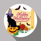 Etichetta rotonda con il gatto nero nel cappello della strega, in zucca e nel ` disegnato a mano Halloween felice del testo! ` Fotografie Stock