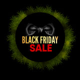 Etichetta rotonda del nero di vendita di Black Friday Illustrazione Vettoriale