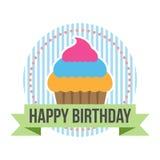 Etichetta rotonda dell'insegna di buon compleanno Fotografia Stock Libera da Diritti