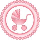 Etichetta rotonda rosa della carrozzina Fotografie Stock