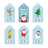 Etichetta, Santa Claus ed amici di Natale con iscrizione Immagine Stock Libera da Diritti