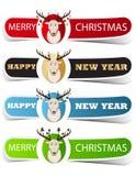 Etichetta variopinta di Natale con un cervo Fotografia Stock Libera da Diritti