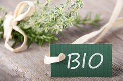 Etichetta verde con BIO- fotografia stock libera da diritti