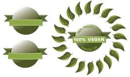Etichetta verde con il vegano lucido dell'insegna Fotografia Stock