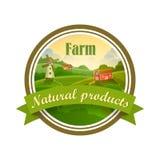 Etichetta verde dell'alimento fresco dell'azienda agricola naturale sana royalty illustrazione gratis