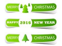 Etichetta verde di Natale con l'albero di Natale Fotografia Stock