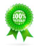 Etichetta verde naturale 100% Fotografia Stock