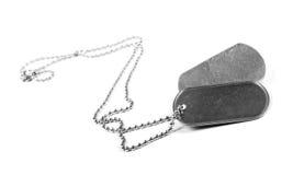 Etichette in bianco del metallo che appendono sulla catena Isolato su un bianco immagine stock