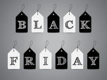 Etichette in bianco e nero con il testo di Black Friday Fotografia Stock