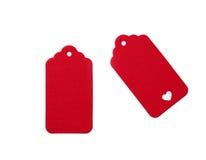 Etichette in bianco rosse del regalo Fotografia Stock