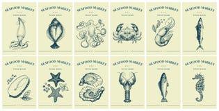 Etichette con frutti di mare ed i pesci Metta i prezzi da pagare dei modelli per i negozi ed i mercati di alimento biologico Arte fotografie stock libere da diritti