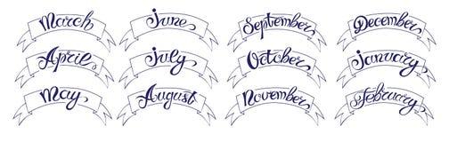 Etichette con iscrizione disegnata a mano, mesi dell'insieme di nomi dell'anno, neri su bianco royalty illustrazione gratis